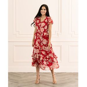 Rachel Parcell Red Floral Ruffle Shirtdress Midi S